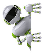 Fun robot with blank board — Stock Photo
