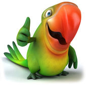 Fun parrot thumbs up gesture — Stock Photo
