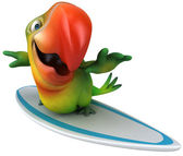 Fun parrot on surfing board — Stock Photo