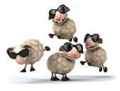 Fun Sheep in sunglasses — Stock Photo