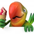 Green parrot with ice cream — Stock Photo #50804673