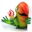 Green parrot with ice cream — Stock Photo #50804693