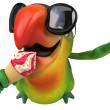 Green parrot with ice cream — Stock Photo #50804711