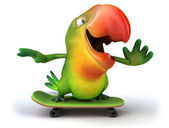 Green parrot on skateboard — Stok fotoğraf
