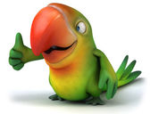 Green parrot with thumb up gesture — Stock Photo
