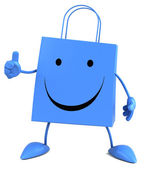 Happy Shopping bag with thumb up — Stock Photo