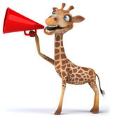 Fun giraffe with loudspeaker — Stockfoto