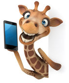 Giraffa con telefono intelligente di divertimento — Foto Stock