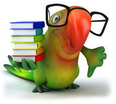Green parrot with stack of books — Stock Photo