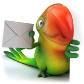 Green parrot with letter — Stock Photo
