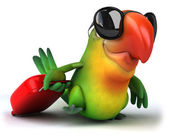 Green parrot in sunglasses — Stock Photo