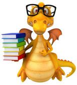 Fun dragon with books — Stockfoto