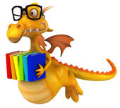 Fun dragon with books — Stock Photo