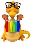 Fun dragon with books — Foto Stock