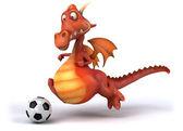 Fun dragon avec ballon de football — Photo