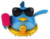 Blue bird with ice cream — Photo