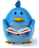 Blue bird with book — Stockfoto