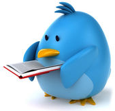 Blue bird with book — Stock Photo