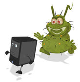 Fun germ and computer — Stock Photo