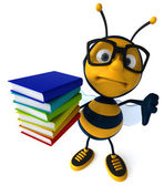 Fun bee with stack of books — Foto Stock