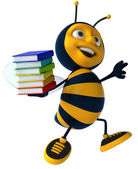 Fun bee with stack of books — Stok fotoğraf