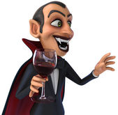 Fun vampire with glass — Stock Photo