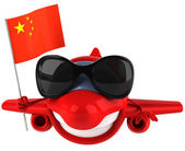 Fun plane with Chinese flag — Stock Photo