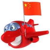 Fun plane with Chinese flag — Stockfoto