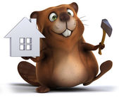 Fun beaver with house model — Stockfoto