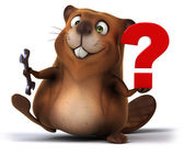 Fun beaver with question mark — Stock Photo
