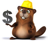 Fun beaver with dollar sign — Stock Photo
