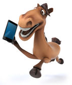 Fun horse with cell phone — Stock Photo
