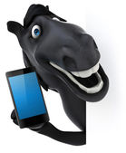 Fun horse with smart phone — Stock Photo