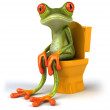 Frog sitting in WC 3d — Stock Photo #8596867