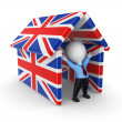 Royalty-Free Stock Photo: 3d small person under  british flags.