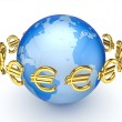 Stock Photo: Euro signs around globe.
