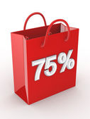 """The red bag labeled """"75%"""". — Stock Photo"""