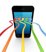 Renkli patchcords cep telefonunuza bağlı. — Stok fotoğraf
