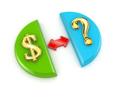 Dollar signs and query mark. — Stock Photo
