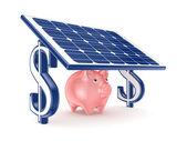 Pink piggy bank under solar battery. — Stock Photo