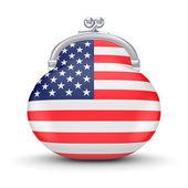 Bandera americana en una cartera. — Foto de Stock