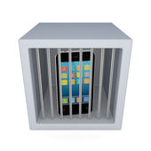 Mobile phone in a jail. — Stock Photo