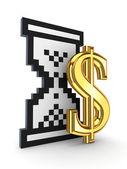 Přesýpací hodiny ikona a znak dolaru. — Stockfoto