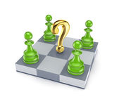 Green pawns around golden query mark. — Stock Photo