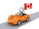 Persona pequeña 3d en auto naranja con bandera canadiense. — Foto de Stock