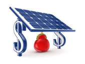 Red vintage purse under solar battery. — Stock Photo