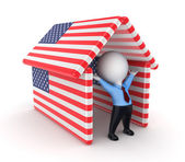 Small person under American flags. — Stock Photo