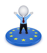 European Union symbol and happy 3d small person. — Stock Photo