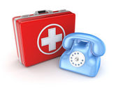 Medical suitcase and telephone. — Stock Photo