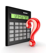 Calculator and red query sign. — Stock Photo
